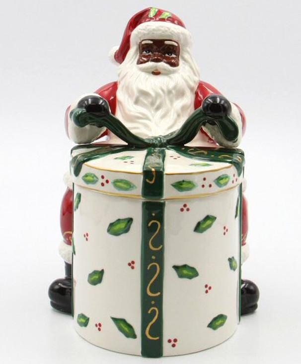 African American Santa with Gift Ceramic Cookie Jar