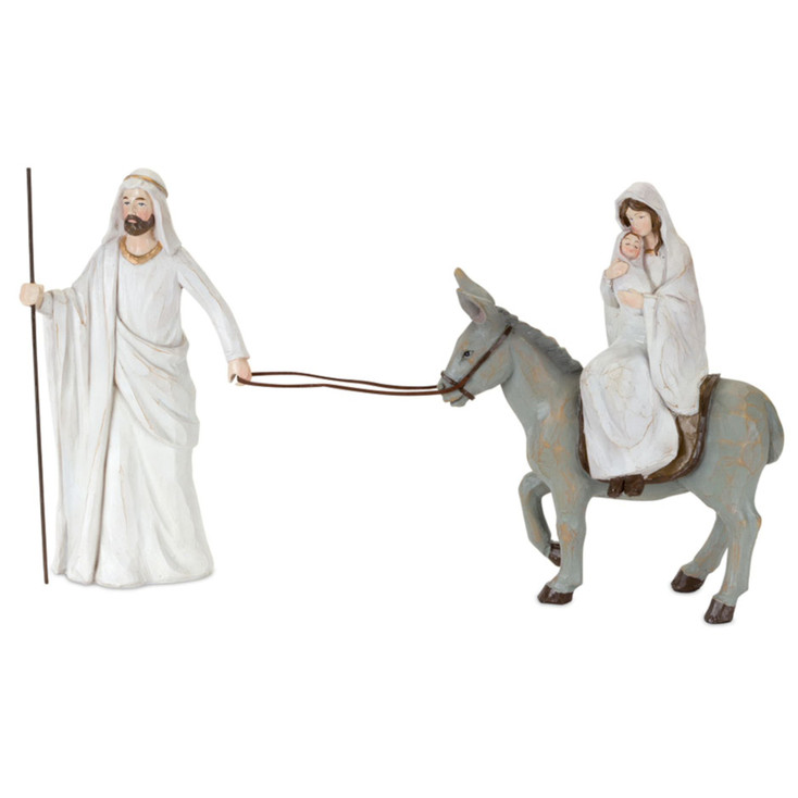 "10.75"" Holy Family with Donkey Sculpture"