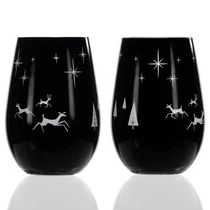 Wonderland Stemless Wine Glass Goblets, Set of 2