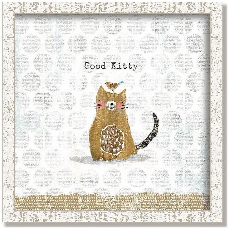 "Custom ""Good Kitty"" Inspirational Vintage Style Framed Wood Sign"
