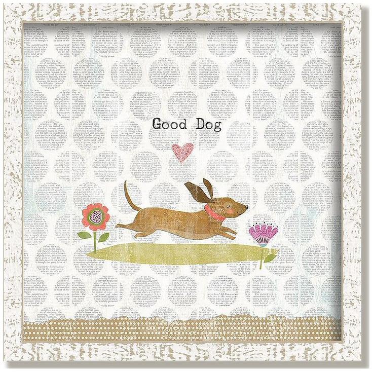 """Custom """"Good Dog"""" Inspirational Vintage Style Framed Wood Sign"""