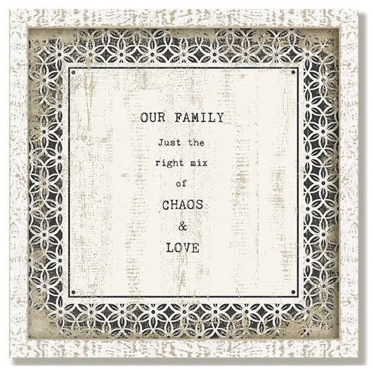 """Custom """"Chaos"""" Inspirational Vintage Style Framed Wood Sign"""