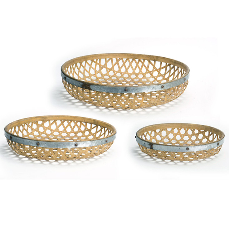 Round Woven Bamboo and Metal Decorative Trays, Set of 3