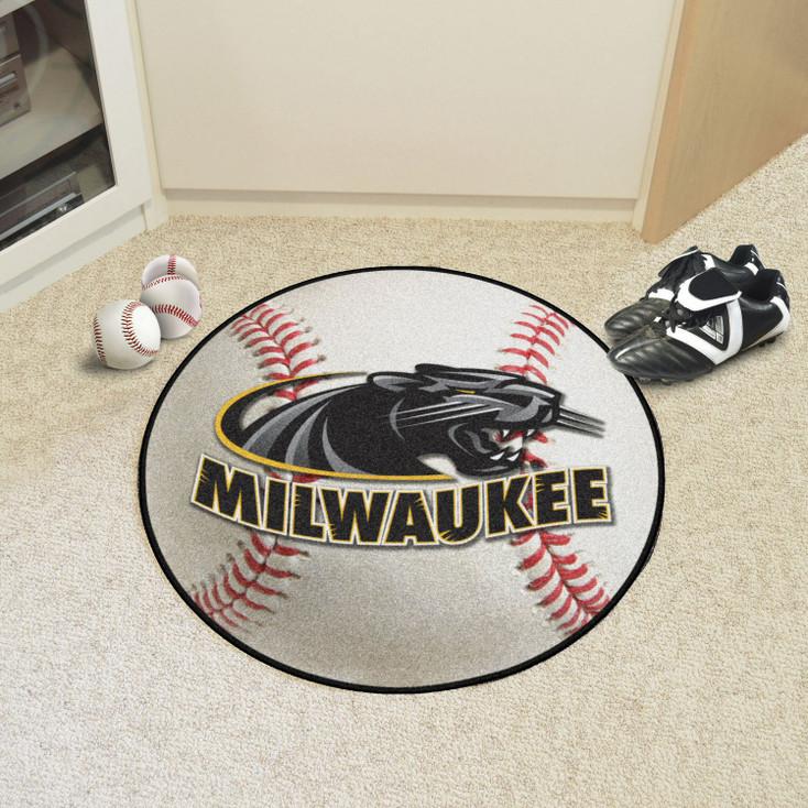 "27"" University of Wisconsin-Milwaukee Baseball Style Round Mat"