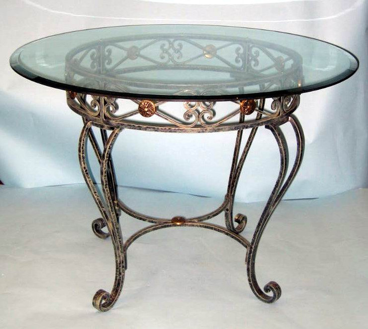 Milan Iron and Brass Dining Table with Glass Top