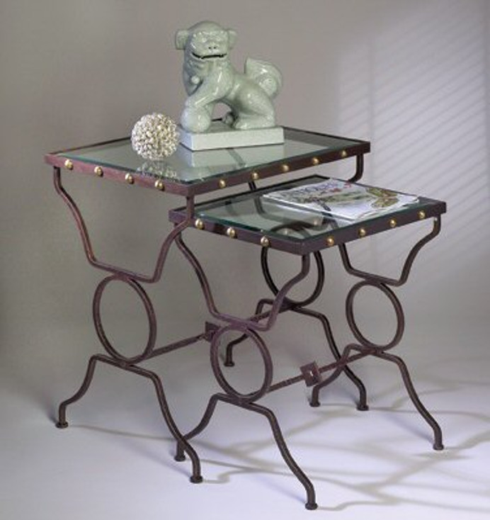 Bronze Button Iron and Brass Nesting Tables, Set of 2