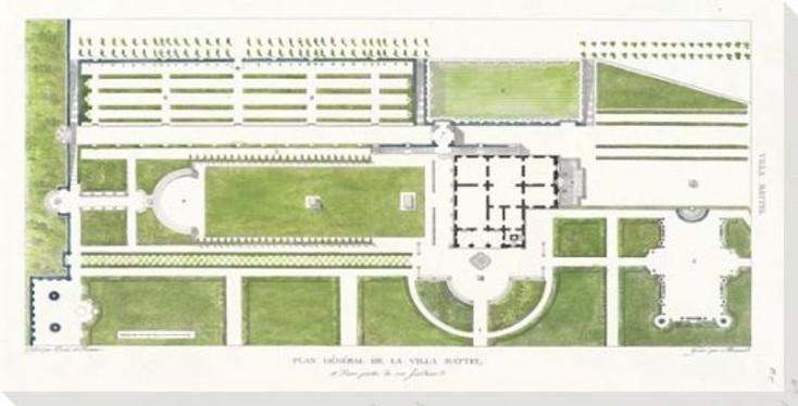 Villa Mattel Plan Wrapped Canvas Giclee Art Print Wall Art