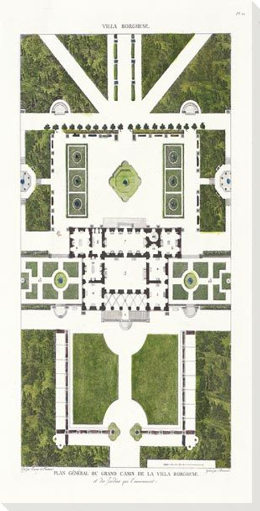 Villa Borghese Plan Wrapped Canvas Giclee Art Print Wall Art