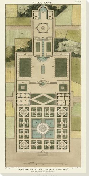 Plan De La Villa Lanti Wrapped Canvas Giclee Art Print Wall Art