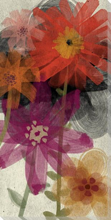 Red Wash Floral Four Wrapped Canvas Giclee Print Wall Art