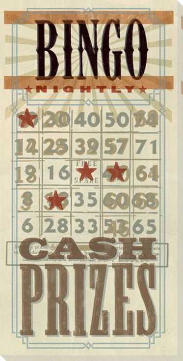Bingo Card Wrapped Canvas Giclee Print Wall Art