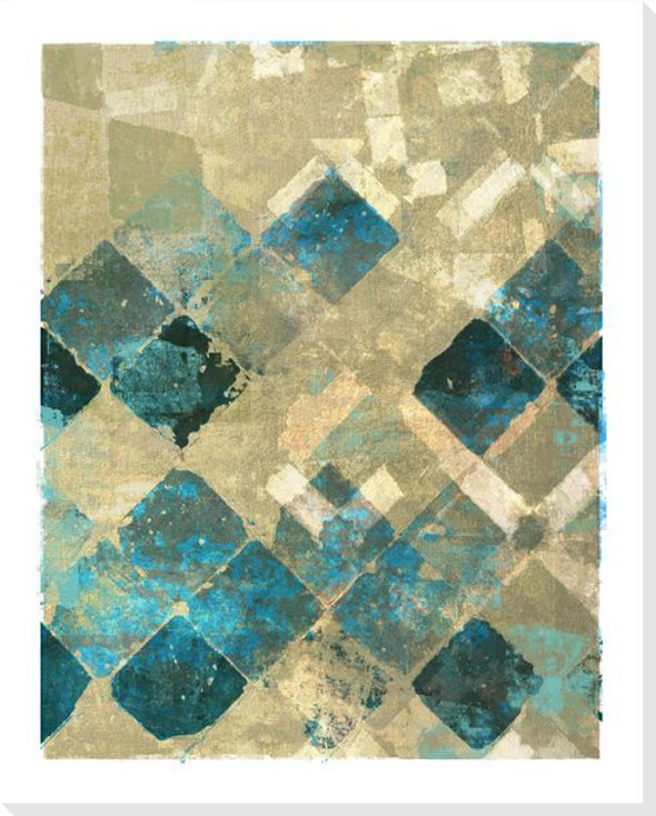 Block Print Patterns Blue 3 Wrapped Canvas Giclee Print Wall Art