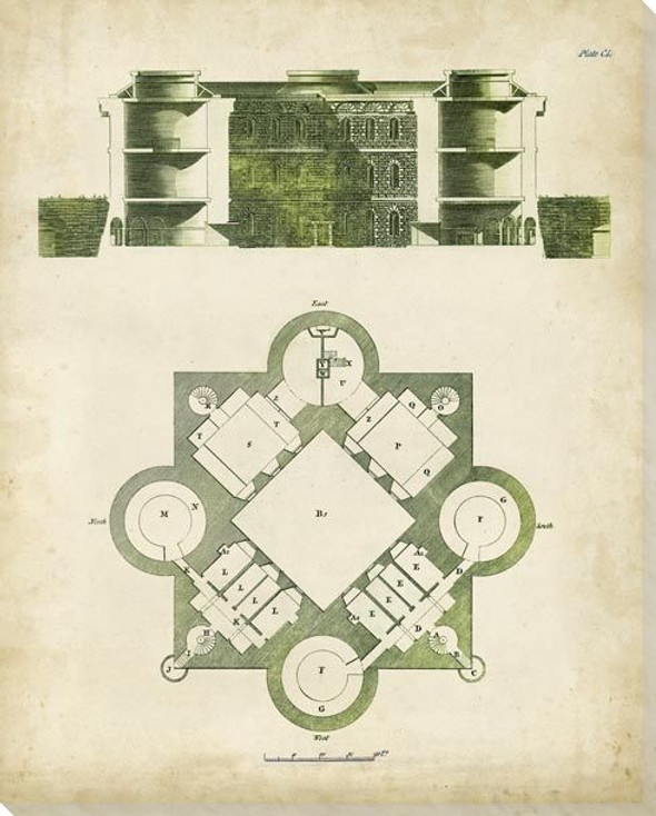 Architectural Blueprint I Wrapped Canvas Giclee Art Print Wall Art