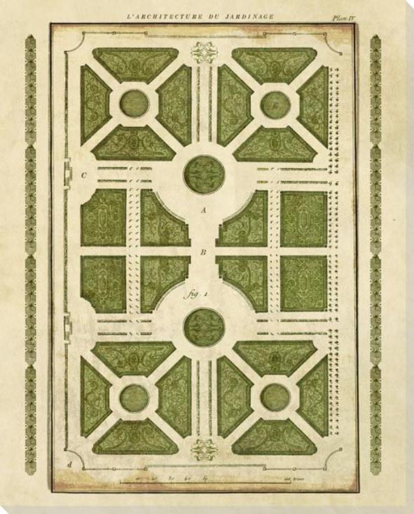 Plan L'Architecture du Jardinage 2 Wrapped Canvas Giclee Art Print