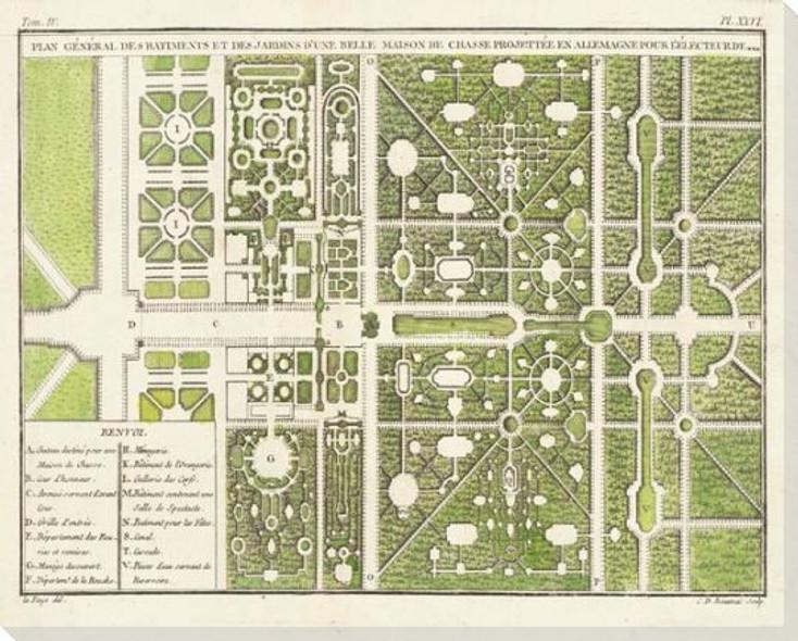 Des Jardins D'Une Belle Maison Plan Wrapped Canvas Giclee Art Print