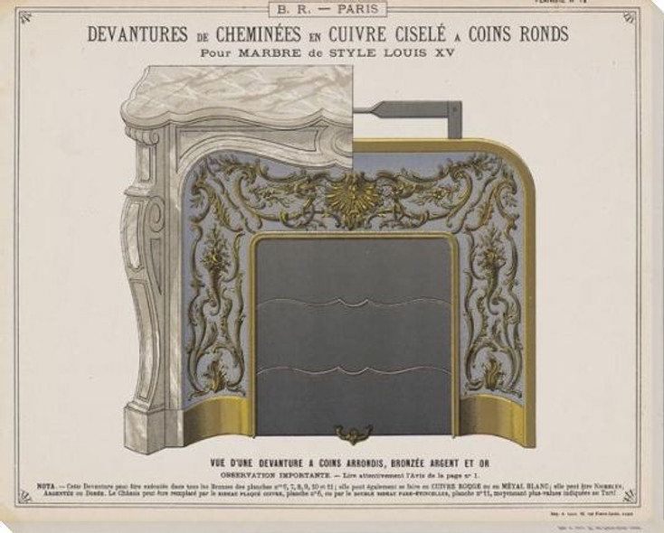 Plan Fireplace Rendering & Louis XV Wrapped Canvas Giclee Art Print