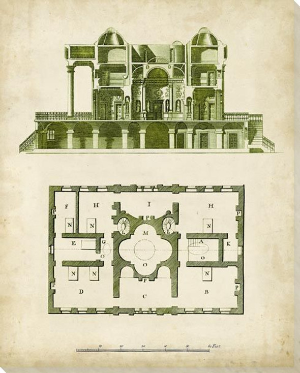 Architectural Blueprint III Wrapped Canvas Giclee Art Print Wall Art