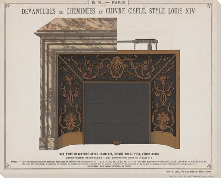 Plan Fireplace Rendering & Louis XIV Wrapped Canvas Giclee Art Print