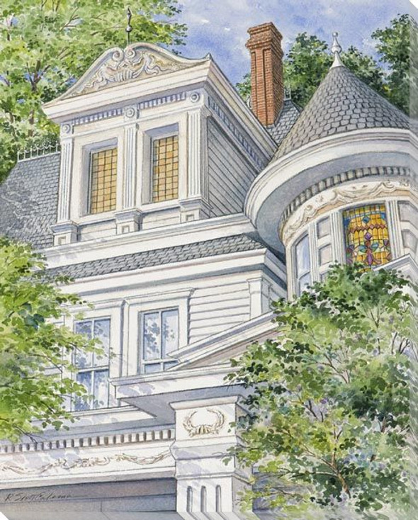 House Structure with Chimney Wrapped Canvas Giclee Art Print Wall Art