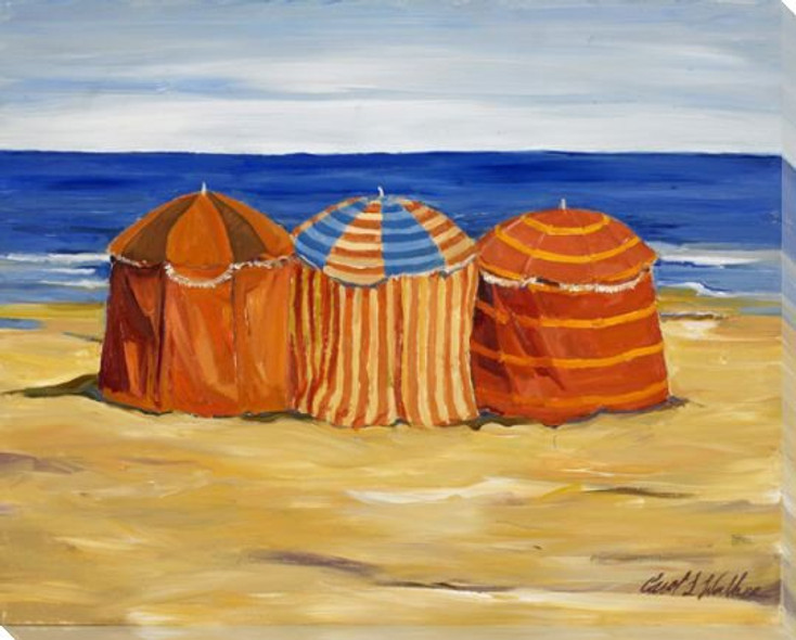 3 Umbrellas On the Beach Wrapped Canvas Giclee Print Wall Art