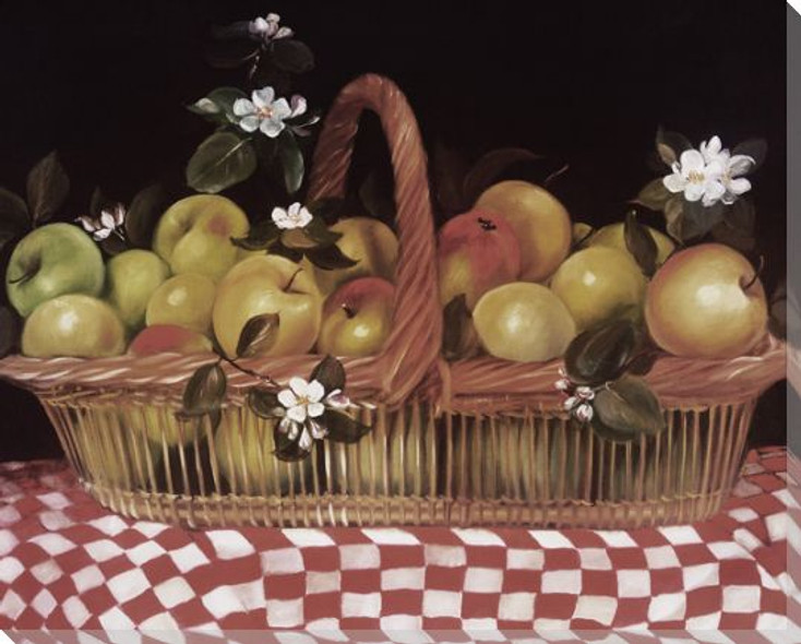 Basket of Apples on a Checkerboard Cloth Wrapped Canvas Print