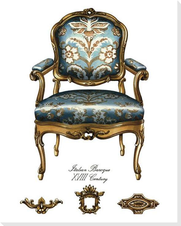 Blue Italian Baroque Chair Wrapped Canvas Giclee Print Wall Art