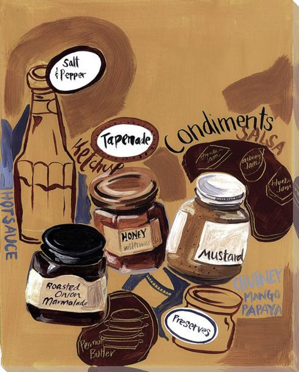 Bakery Condiments Wrapped Canvas Giclee Print Wall Art