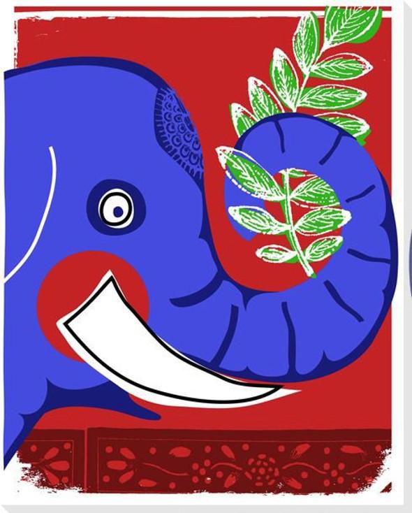 Safari Elephant Wrapped Canvas Giclee Print Wall Art