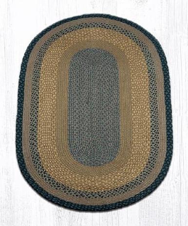 3 x 5 Brown Black Charcoal Braided Jute Oval Rug Floor