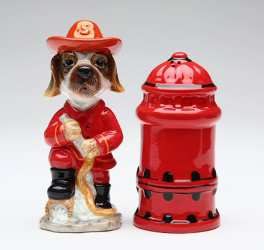 Fire Fighter Dog Ceramic Salt And Pepper Shakers Set Of 4