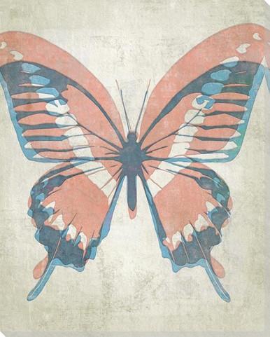 Letterpress Butterfly Aqua Salmon Wrapped Canvas Giclee Art Print Wall Art Wall Decor Artwork
