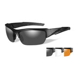 Wiley X Valor 3 Lens Package, Black Matte Frame - Smoke Grey, Clear, Light Rust Lenses