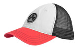 Magpul Icon Patch Garment Washed Trucker Hat, Stone/Black/Red