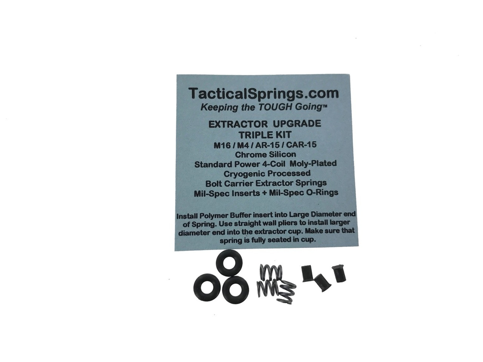 Tactical Springs Ar15 M4 M16 Extractor Spring Upgrade Triple Kit 4 Coil Extractor Spring Mil Spec Black Extractor Insert Mil Spec Viton O Ring 26403 Rog Tactical