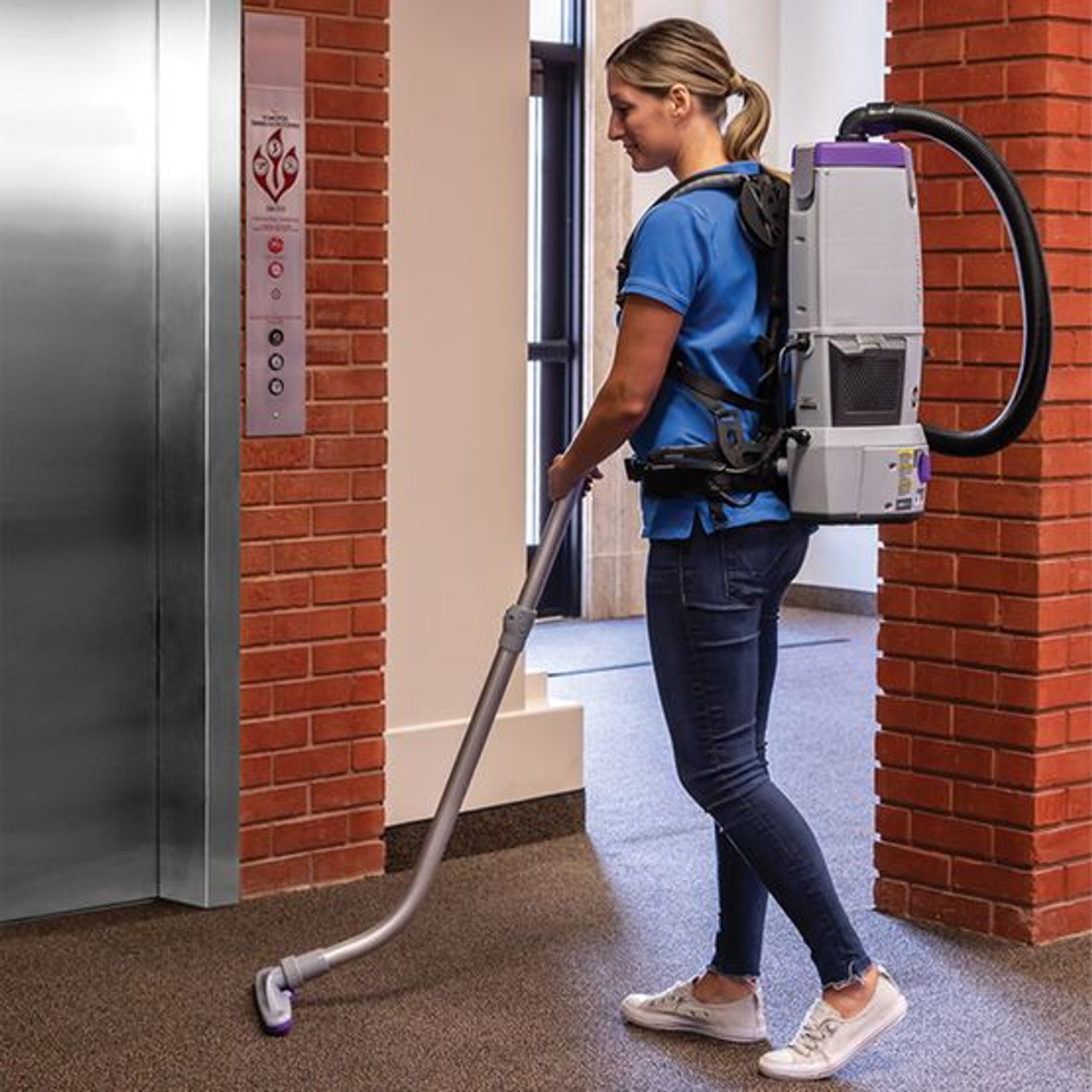 ProTeam GoFree Flex Pro II, 6 Ah, 6 qt. Cordless Backpack Vacuum w/ Xover Multi-Surface Two-Piece Wand Tool Kit