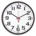 """AbilityOne 6645015573148 SKILCRAFT Self-Set Wall Clock, 12.75"""" Overall Diameter, Black Case, 1 AA (sold separately) Product Image"""