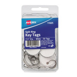 Avery Key Tags with Split Ring, 1 1/4 dia, White, 50/Pack Product Image