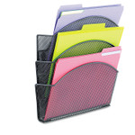 Safco Onyx Magnetic Mesh Panel Accessories, 3 File Pocket, 13 x 4 1/3 x 13 1/2. Black Product Image