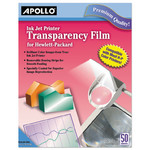 Apollo Quick-Dry Color Inkjet Transparency Film w/Handling Strip, Letter, Clear, 50/Box Product Image