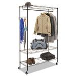 Alera Wire Shelving Garment Rack, 40 Garments, 48w x 18d x 75h, Black Product Image