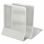 Artistic Urban Collection Punched Metal Bookends, 6 1/2 x 6 1/2 x 5 1/2, White Product Image