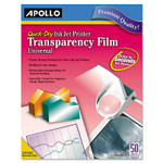 Apollo Quick-Dry Color Inkjet Transparency Film, Letter, Clear, 50/Box Product Image