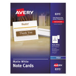 Avery Note Cards for Inkjet Printers, 4 1/4 x 5 1/2, Matte White, 60/Pack w/Envelopes Product Image