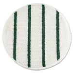 "Rubbermaid Commercial Low Profile Scrub-Strip Carpet Bonnet, 19"" Diameter, White/Green, 5/Carton Product Image"