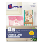 Avery Textured Half-Fold Greeting Cards, Inkjet, 5 1/2 x 8.5, Wht, 30/Bx w/Envelopes Product Image