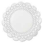 """Hoffmaster Cambridge Lace Doilies, Round, 12"""", White, 1000/Carton Product Image"""