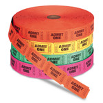 Iconex Admit One Single Ticket Roll, Numbered, Assorted, 2000/Roll, 4 Rolls/Pack Product Image