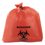 """Heritage Healthcare Biohazard Printed Can Liners, 45 gal, 3 mil, 40"""" x 46"""", Red, 75/Carton Product Image"""