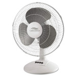 Lakewood 12-Inch Three-Speed Oscillating Desk Fan, Metal/Plastic, White Product Image