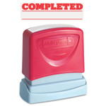 AbilityOne 7520012074111 SKILCRAFT Pre-Inked Message Stamp, COMPLETED, Red Product Image